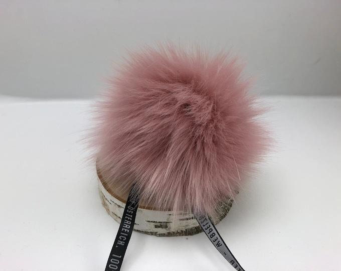 """Aheadhunter faux fur Pom Pom - Premium """"fox"""" Pom Pom - Quartz Rose  color - hat topper - knit crochet supplies"""