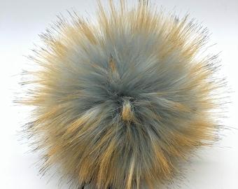 "Aheadhunter faux fur Pom Pom - Premium ""Raccoon"" Pom Pom - cream - hat topper - knit crochet supplies"