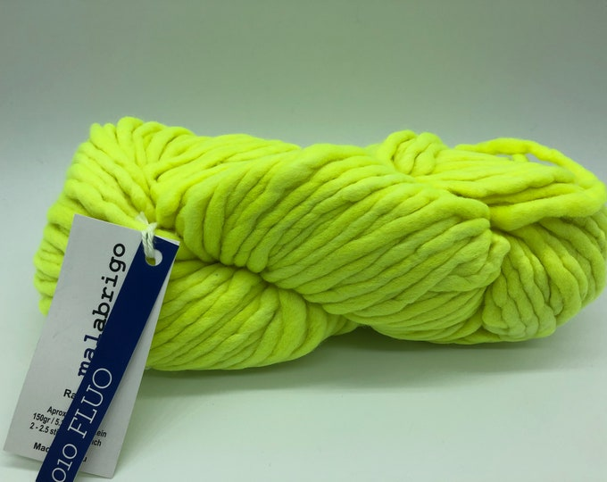 Malabrigo Rasta Yarn + Knitting Pattern, Super Bulky, 100% Merino Wool, Fluo 010, Neon Yellow Merino Wool