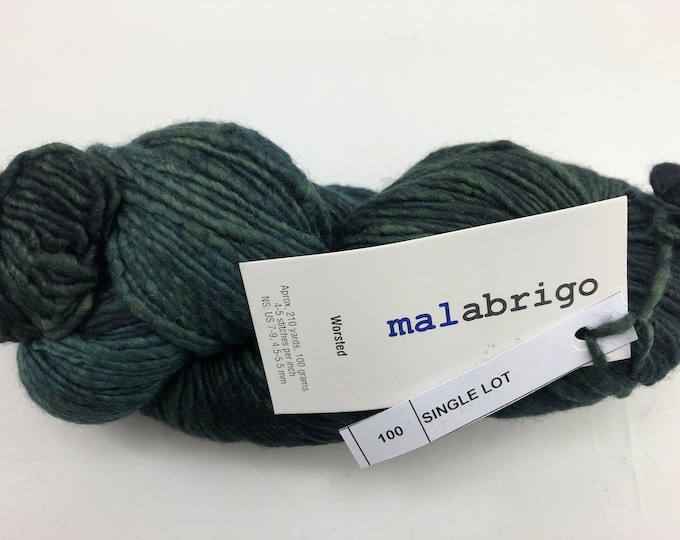 Malabrigo Worsted Yarn and bonus Hat Knitting Pattern, Worsted, 100% Merino Wool, dark green, no dye lot