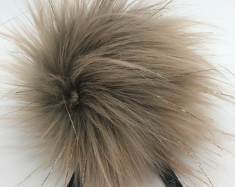 """Aheadhunter faux fur Pom Pom with rose gold colored accents,  Premium """"raccoon"""" Pom Pom  - hat topper - knit crochet supplies"""