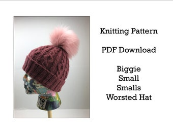 Knitting Pattern - Hat Pattern -  Biggie Small Smalls Hat - Malabrigo Worsted Yarn - Worsted weight hat pattern - fold up brim hat pattern