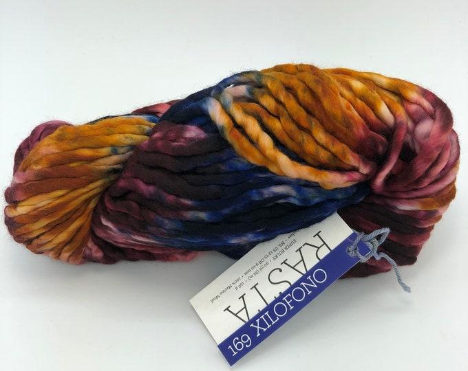 Malabrigo Rasta Yarn + Knitting Pattern, Super Bulky, 100%  Merino Wool, Xilofono 169, Pintada Collection
