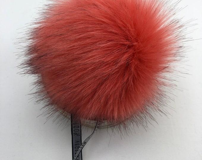 """Aheadhunter faux fur Pom Pom - Premium """"fox"""" Pom Pom - Papaya color - hat topper - knit crochet supplies"""