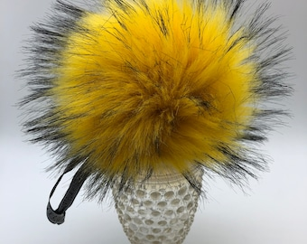 "Aheadhunter faux fur Pom Pom - Premium ""raccoon"" Pom Pom  - hat topper - knit crochet supplies - raccoon yellow"