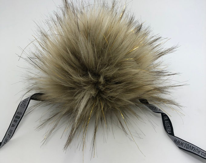 "Aheadhunter faux fur Pom Pom with gold accents,  Premium ""raccoon"" Pom Pom  - hat topper - knit crochet supplies"