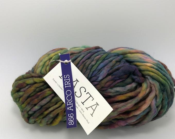 Malabrigo Rasta Yarn + Knitting Pattern, Super Bulky, 100% Merino Wool, 866 Arco Iris