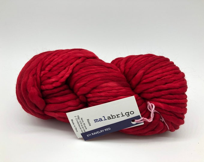 Malabrigo Rasta Yarn + Knitting Pattern, Super Bulky, 100% Merino Wool, Ravelry Red, red merino yarn