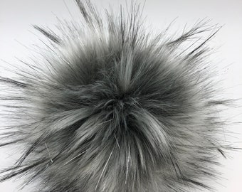 "Aheadhunter faux fur Pom Pom with silver accents,  Premium ""raccoon"" Pom Pom  - hat topper - knit crochet supplies"