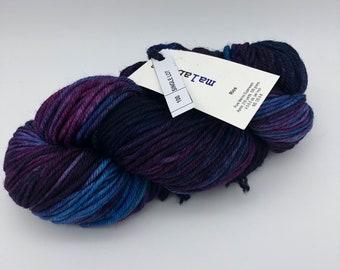 Malabrigo Rios Yarn + Hat Knitting Pattern - Worsted- 100% Merino Wool - Purple and Blue - single lot