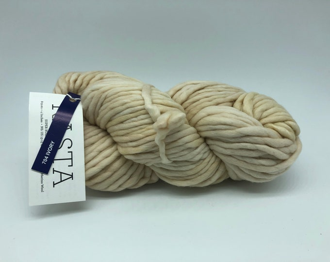 Malabrigo Rasta Yarn + Knitting Pattern, Super Bulky, 100% Merino Wool, Ivory, cream merino yarn