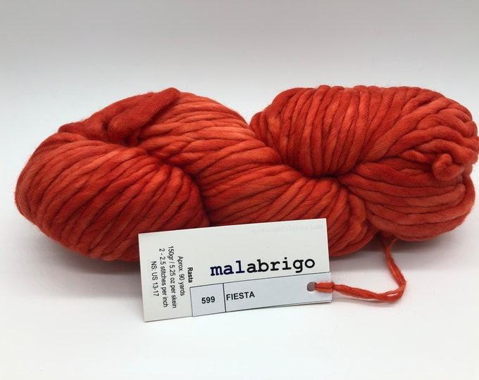 Malabrigo Rasta Yarn + Knitting Pattern, Super Bulky, 100% Merino Wool, Fiesta 599, Orange Merino Wool