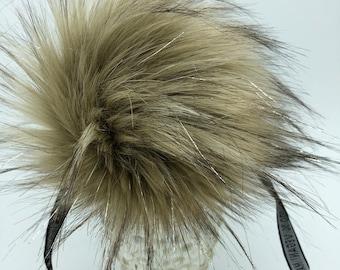"Aheadhunter faux fur Pom Pom with silver accents,  Premium ""raccoon"" Pom Pom  - hat topper - knit crochet supplies"