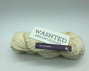 Malabrigo Washted Yarn + Hat Knitting Pattern , Worsted, 100% Superwash Merino Wool, 063 Natural, Cream Colored Merino