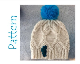 Knitting Pattern - Hat Pattern - cable and seed stitch hat pattern - Manos Maxima Yarn - Worsted weight hat pattern