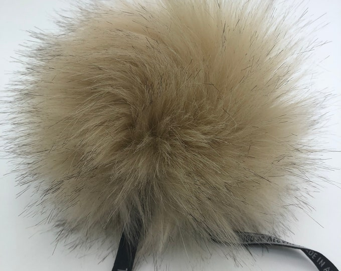 "Aheadhunter faux fur Pom Pom - Premium ""fox"" Pom Pom - beige - hat topper - knit crochet supplies"