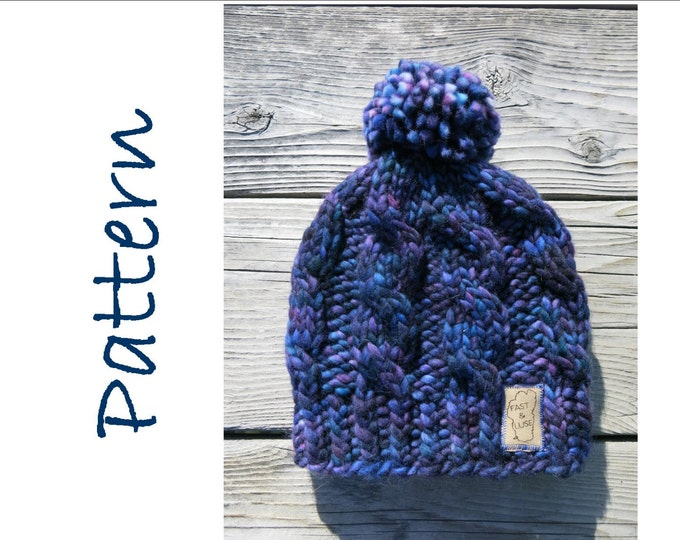 Hat Knitting Pattern - Super Chunky Cable Hat - Malabrigo Rasta Hat Pattern -Easy Knitting Pattern