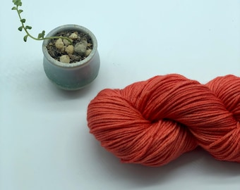 Malabrigo Rios Yarn + Hat Knitting Pattern, Worsted- 100% Merino Wool - Salmon- no dye lot