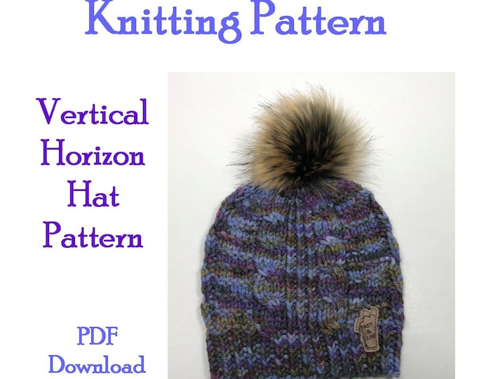Knitting Pattern - Cable and rib hat Hat - Bulky yarn hat pattern