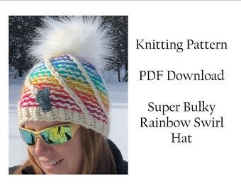 Hat Knitting Pattern, Super Chunky Rainbow Swirl Hat Pattern, Malabrigo Rasta Hat Pattern, Rainbow Knitting Pattern