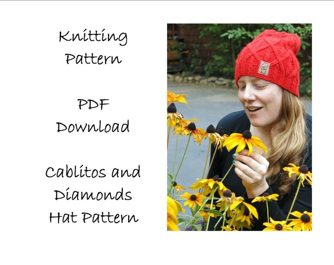Knitting Pattern, Hat pattern,  Slouchy Beanie Instructions, Worsted Weight Hat Pattern, Textured Hat Pattern