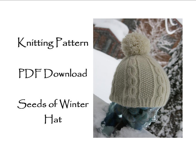 Hat Knitting Pattern, cable and seed stitch hat,  Cascade Highland Duo Hat Pattern, worsted weight knitting pattern