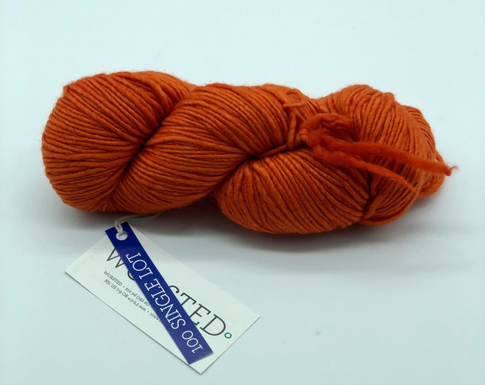 Malabrigo Worsted Yarn + Hat Knitting Pattern, Worsted- 100% Merino Wool,  Orange, no dye lot