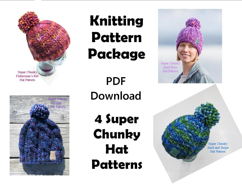 Knitting Pattern Package Deal - 4 Hat Patterns - Super Chunky Hat Patterns  - Malabrigo Rasta Hat Patterns - Pom Pom Hat Patterns 2603b606055