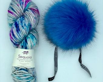 Yarn and pom pom kit, choice of hat knittinig pattern, Baah Yarn Sequoia and Aheadhunter pom pom, Multi color merino, blue Pom Pom