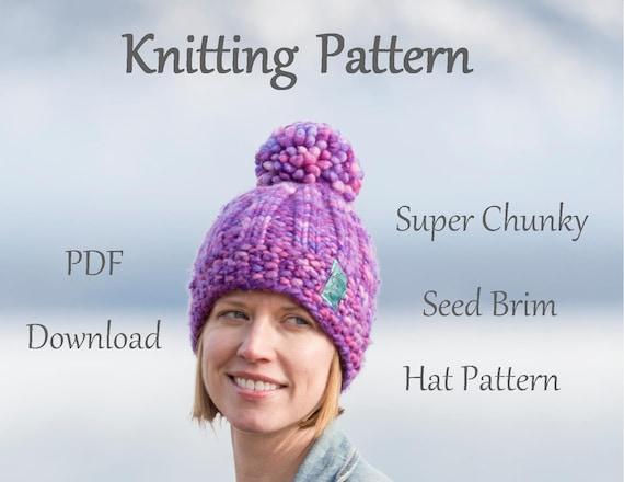 Hat Knitting Pattern Super Chunky Seed Brim Knitting  019f90d8038