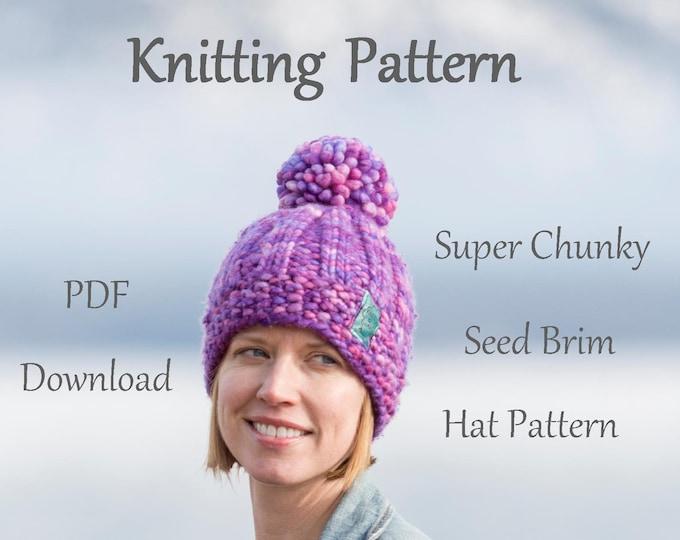 Hat Knitting Pattern - Super Chunky Seed Brim Knitting Pattern-  Malabrigo Rasta Hat Pattern - Pom Pom Hat Pattern
