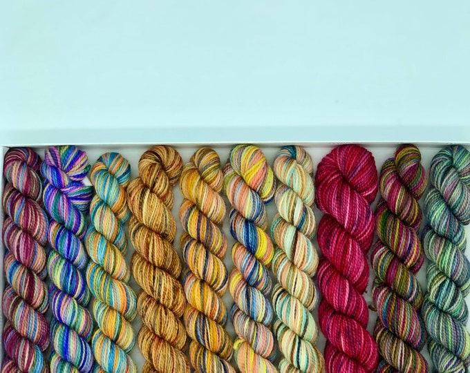 Koigu KPPM pencil box, Fall leaves, fingering weight yarn