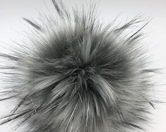 """Aheadhunter faux fur Pom Pom with silver accents,  Premium """"raccoon"""" Pom Pom, hat topper, big pom pom, knit crochet supplies"""