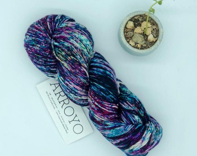 Malabrigo Arroyo Yarn, 100% Superwash Merino Wool, Sur 164, Sport weight ,speckled purple blue white merino
