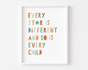 Every Star is Different/Nursery/Child's Room/Classroom Art Print