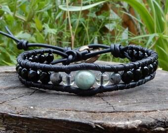 Mens Black Leather and Birthstone Birthday Celebration Bracelet -Birthstone Gift for Man -Genuine Natural Gemstone Jewelry Him -Fathers Day