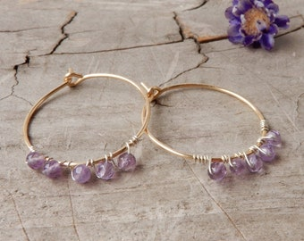 Thin Gold Filled Hoop Earrings with Amethyst for Women -Natural Genuine Gemstone Dangles -Boho Chic Gypsy Style Jewelry for Her - Birthday