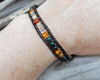 Amber and Leather Wrap Bracelet --Authentic Natural Energy Stone Jewelry -Healing Crystal Metaphysical Power Stone Cuff Bracelet -Boho Style