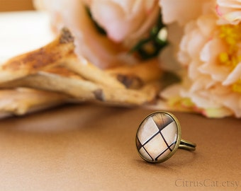 Abstract beige brown squares ring. Adjustable ring, rustic jewelry, natural colors, heart ring, tribal jewelry, brass ring, romantic jewelry