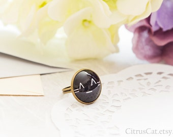 Adjustable cat emoticon black ring, cat emoticon jewelry, cat jewelry, cat ring, kitty ring, emoticon ring, cat face, geek jewelry, smiley