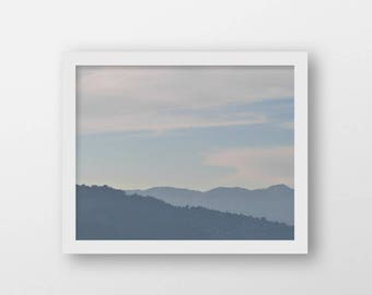 Minimalist Landscape Print | Relaxation Art Print | Blue Grey | Rolling Hills and Sky | Modern Country Wall Art | Printable Office Art