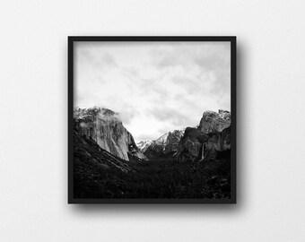 Black and White Mountain Art Print | Yosemite National Park Printable | Wilderness Art Print | Forest Photography | Mountain Decor | Square