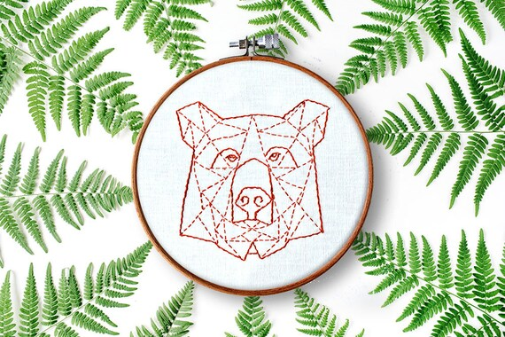 Modern Hand Embroidery Patterns Geometric Animals Beginner Etsy