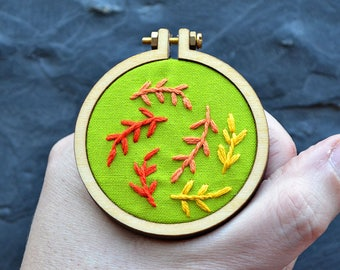 fall leaves miniature embroidery pattern, fall decoration, mini hoop pattern, beginner embroidery, hand embroidery, embroidery pendant