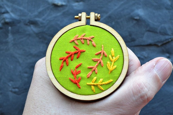 Fall Leaves Miniature Embroidery Pattern Fall Decoration Etsy