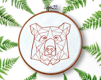 bear hand embroidery pattern pdf beginner diy wall art woodland nursery embroidery hoop art