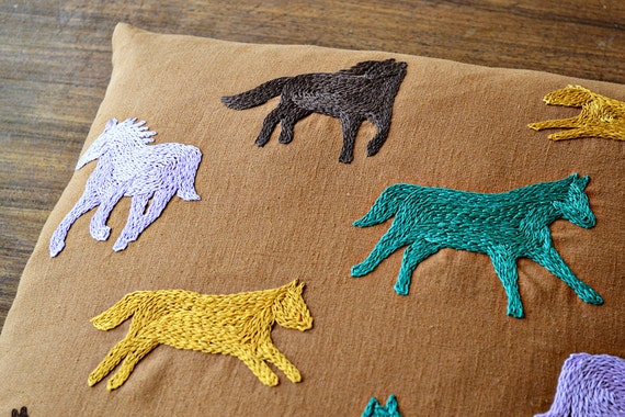 Horse Embroidery Pattern Cushion Cover Beginner Embroidery Etsy