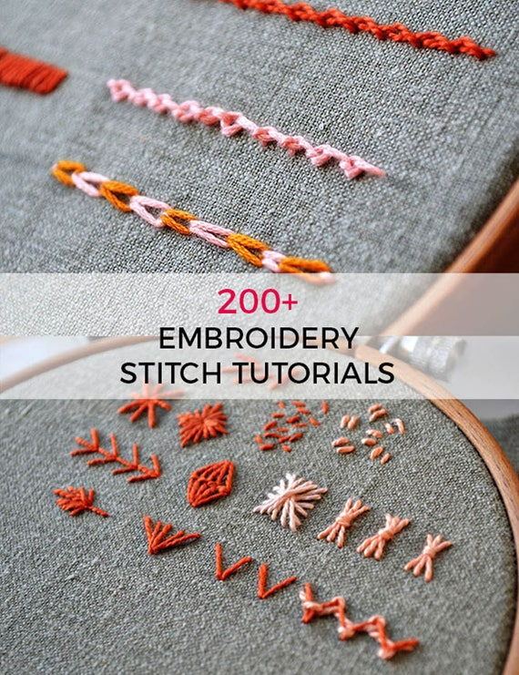 Beginner Hand Embroidery Pattern Stitch Book 40 Embroidery Etsy Interesting Hand Stitch Embroidery Patterns