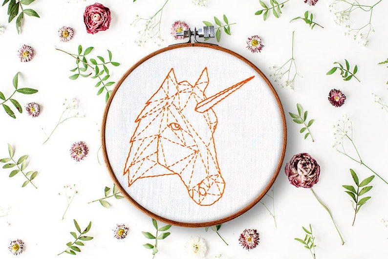 unicorn pdf pattern, beginner hand embroidery, geometric embroidery  pattern, contemporary embroidery, stitch work pattern