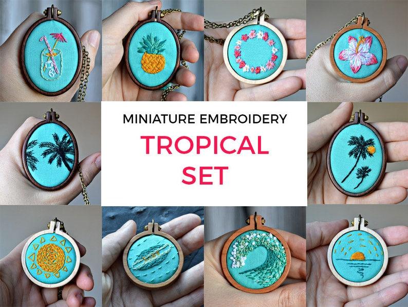 10 mini embroidery pattern bundle miniature stitching easy image 0